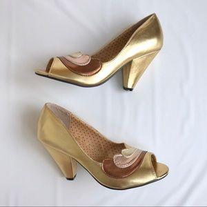 Bettie Page Retro Gold Cone Peep Toe Heels